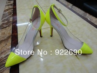 2013 star style Fluorescent color and sanded fabric Transparent Fashion high - heeled shoes 34-39 US4.5-7