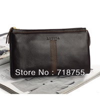 2013 brand new style clutch bag 100% leather retro clutch wallet  black and brown purse the lowest discount price hot sale