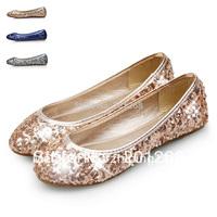 Women's fashion Flats Shoes ballerina shoes paillette dance shoes