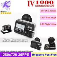 "HD720P Dual Camera Car DVR w/ IR Rear View Camera 2.0"" LCD+8 IR Night Vision+H.264 Video Codec Allwinner F20 CPU IV1000 SG Post"