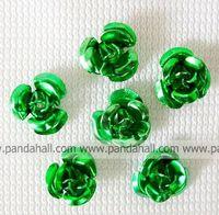 Aluminum Beads,  Mother's Day Gift Beads,  Flower,  Deepgreen,  6mm wide,  4.5mm high,  hole: 1mm,  about 950pcs/bag