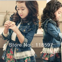 2013 spring child denim children's clothing outerwear butterfly sleeve yarn denim top hot girl denim New hot children clothing