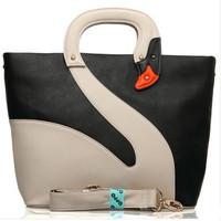 2013   Fashion Lady's Handbags Single Shoulder Bag  HONG KONG OPPO Swan  Patchwork Zipper Korean Bag