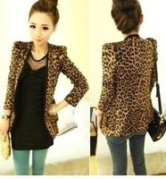 Free shiping 2014 S M L XL XXL Spring Autumn Women Leopard Jacket Slim Fit One Button Blazer With Shoulder Pad Suede Outwear