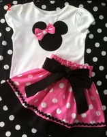 2013 Summer New, Children baby girl's 2PC Sets Skirt Suit, Minnie Mouse Skirt/Pants Clothing Suit dots skirt dots pants GQT-213