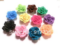Free shipping!  100pcs 30mm Mixed Colors  Polymer Clay Cabochon Flower With Hole For Fashion Jewelries