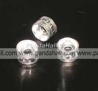 Aluminum Bead,  Tubbish,  Silver Color,  about 6mm wide,  4mm long; hole: 2mm; about 1000pcs/bag