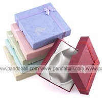 Bracelet Box with a Flower, Sponge and Fabric inside, Mixed-Color, about 9 cm long, 9 cm wide, 2 cm thick