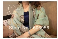 100% silk women scarf 180cm*110cm  fashion long chiffon cotton and hemp  scarves hijab/bandana  free shipping