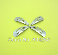 wholesale free shipping 250 pcs/Lot Silver The front square Snap Hair Clips 30MM bow DIY Craft  F3-1