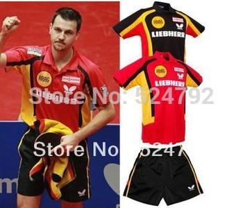 free shipping 2013 NEW Butterfly Man/s Badminton / Tennis/Basketball Shirt+Shorts  RED /BLACK