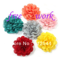 "4"" chiffon hollow  flower ,14colors in stock, 500pcs/lot, free shipping by EMS"