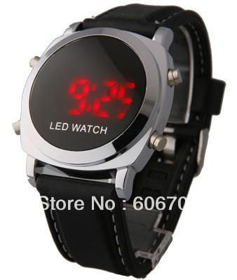 Free Shipping New wrist design brand man's watch silicon brand watch led digital touchdisplayb screen red flashing watches(China (Mainland))