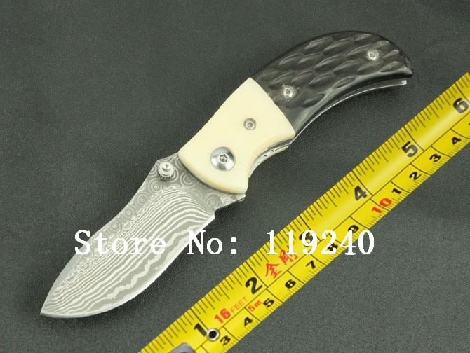 Damascus KJ001 Folding Knife Damascus Steel Imports Flower Horn + Animal Bones Handle Pocket Knife Outdoor Knife, Free Shipping(China (Mainland))
