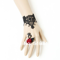 B373 Swan bracelet jewelry  Lolita lace Gothic vintage weave lace bracelet ring wristband women accessories fashion jewelry