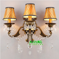 Free Shipping Modern Wall Sconce Crystal Lamp With Metal Arms And Lampshade MD8671