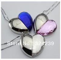 S-37 Wholesale necklace jewellery 4GB 8GB 16GB 32GB  USB Heart Crystal Flash Memory Drive Stick ispread free ship