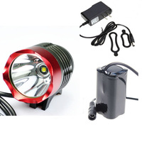 Red Color Head Waterproof Bicycle lights/Headlight With Cree XML-T6 Emitter 1200 Lumen 3 Modes Bike light Kit  +Free Shipping