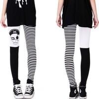 High Waist patterned  Fitness Brand Skull Color Block Black Leggings For Women 2013  leggings free shipping