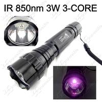 Mail Free ~ New WF-501B Infrared Flashlight 3Watt 850nm Waterproof Infrared IR LED Night Vision Lamp