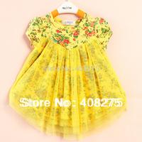 Retail fashion 2014 Little Girls Summer Dress Baby Kids Casual Wear Chiffon Cotton Infant Dresses Children Apparel Hot Sellers