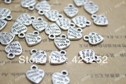 "200pcs/lots Tibetan Silver Message Love Heart Charms Pendants 13*10mm ""made with love""(China (Mainland))"