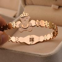 Korean version of Winnie the pressure sand Crown 14k Rose Gold Bracelet.