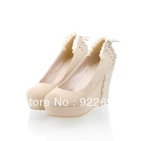2013 high-heeled shoes single shoes nude color lace rivet platform wedges shoes female size 34-39 US 4.5-7