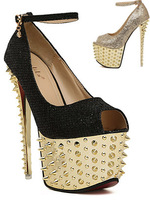 2013 Sexy Shoes 2 styles black gold shiny rivets platform high heels open toe ankle strap sandals pumps for women office shoes