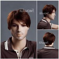2013 Free shipping 100% Kanekalon full wigs/stylish male short auburn wigs for men