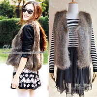 Autumn & Winter Women's Faux fox fur Vest short Style V-collar False Fur Vest Free Shipping