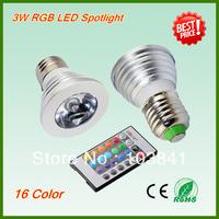New wholesale RGB LED light 2 year warranty  85V-265V 3W RGB LED bulb with remote control E27 RGB LED Spotlight  free shipping