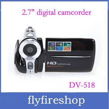 "NEW 12Mega pixels 16X digital zoom HD digital camcorder with 2.7"" TFT LCD screen DV-518,digital video camera"
