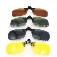 2pcs/lot Sunglasses Clips On Dark Green/Black/Yellow/Dark Brown  Lens Polarized Day Vision  Clip On Glasses Driving Eyeglasses