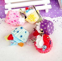 wholesale! cute PVC food model-LOVE cupcake charm/phone straps/ keychain/chain free shipping