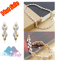 MIX Min Order 15 USD 18K Gold Plated Crystal Vintage Wheat Bridal Wedding Jewelry Sets  Wholesale Fashion Jewelry for women 3048