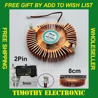 HOT SALE FREE SHIPPING 80mm 2 pin Computer PC VGA Video Card Heatsink Cooler Cooling Aluminum Fan  1PC #FS002