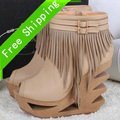 2013 new Drop shipping strange style tassels laides pumps khaki/black cork Sandals special design 12cm high heels shoes hh1329(China (Mainland))