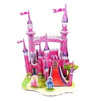 ZILIPOO 3D Puzzle Building Model Toy/ Pink castle, Children's Safe Environmental Protection  Foam+Paper Model DIY Jigsaw 358
