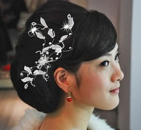 Free shipping 6pcs Silver Plated Vine Leaf Crystal Wedding Prom Hair Comb Pin 1pc