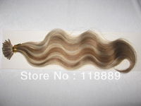"Body Wave  8""-28"" #8/613 I Stick Tip Brazilian Virgin Hair Extension (0.8g/strand x 100)"