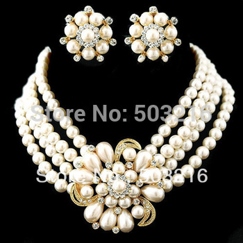 Free Shipping High Quality Clear Crystal Silver Plated White Pearl Jewelry Set