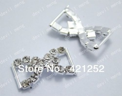 "20PCs Silver Tone Bowknot Crystal Rhinestone Buckles wedding Ribbon Slider Buckles 27x16mm(1 1/8""x 5/8"")(China (Mainland))"