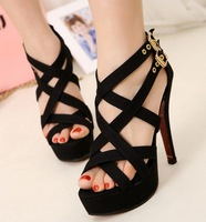 summer 2014 ladies black sandals for women shoes woman platform pumps fashion sexy thin high heels buckle cuts outs GL140013
