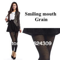 Free shipping New Style Winter Smiling Mouth False Through Meat Warm Pantyhose  Double Plus Thick Velvet Terry Hollow Leggings