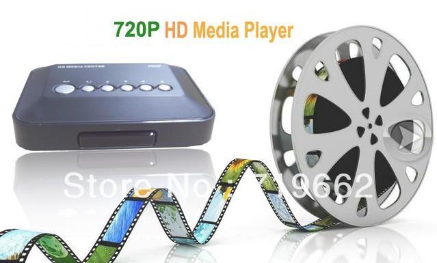 Free ship Hot new min Media Player 720p HD Media Center RM/RMVB/AVI/MPEG/MKV TV Player with USB and SD/MMC Port Remote Control(China (Mainland))