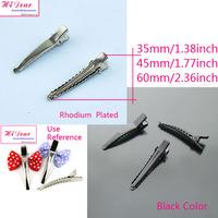 Wholesale Metal Single Prong Alligator Hair Clips/Hairclips Rhodium/Black Color 35/45/60mm DIY Hairpins Hairwear Accessories/JJ1