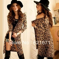 2014 Spring/Summer Women Sexy Casual Korean Fashion Half Sleeve Padded Loose Long Leopard Print Cardigan Coat Outerwear