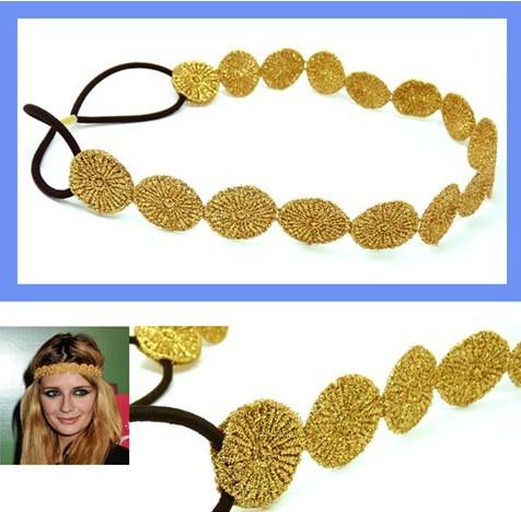 Wholesale retail charming Fshion round lace elastic sun shape headband gold & silver(China (Mainland))