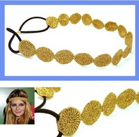 Wholesale retail charming Fshion round lace elastic sun shape headband gold & silver 12pcs/lot